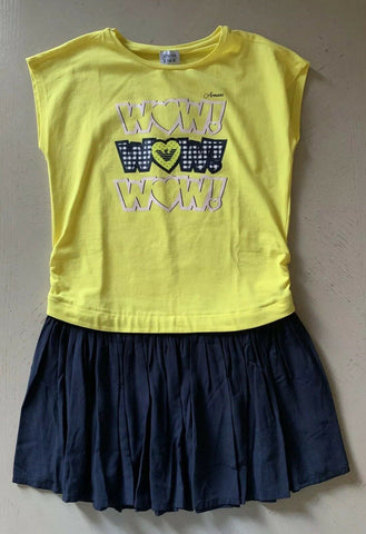 NWT $270 Armani Junior Girls Sleeveless Dress Yellow/Blue Size 11