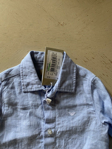 New $145 Armani Baby 100% Linen Baby Boys Shirt Blue 9M