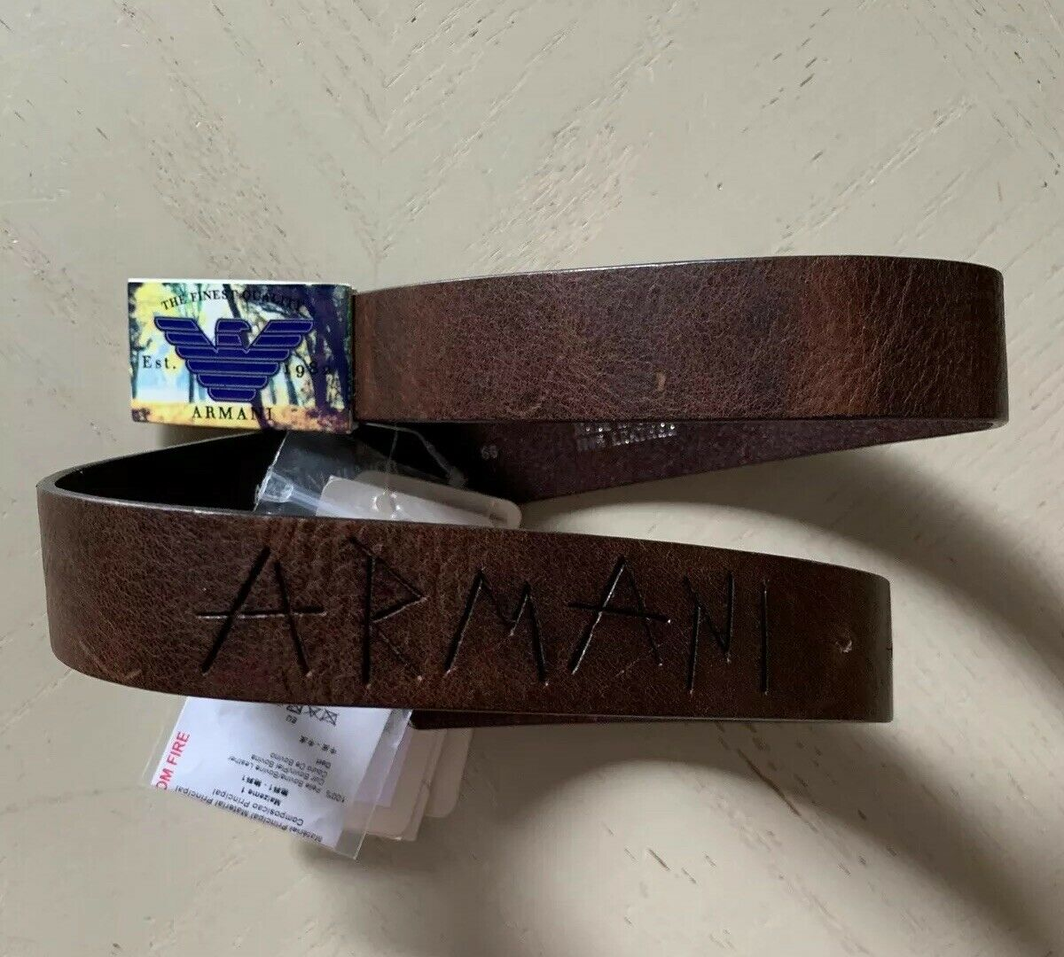 New $120 Armani Junior Boy Belt Brown US M ( 66 Eu ) Italy