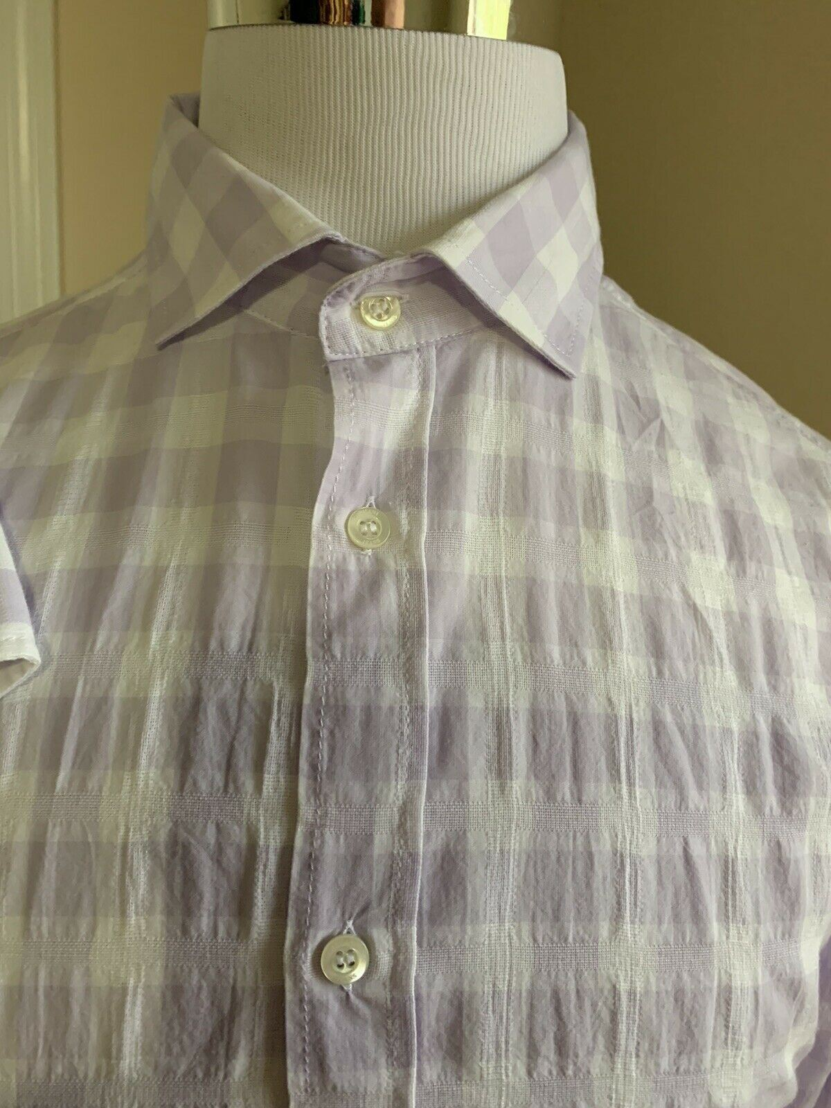 New $295 Armani Jeans Mens Dress Shirt White/Purple Size XXL