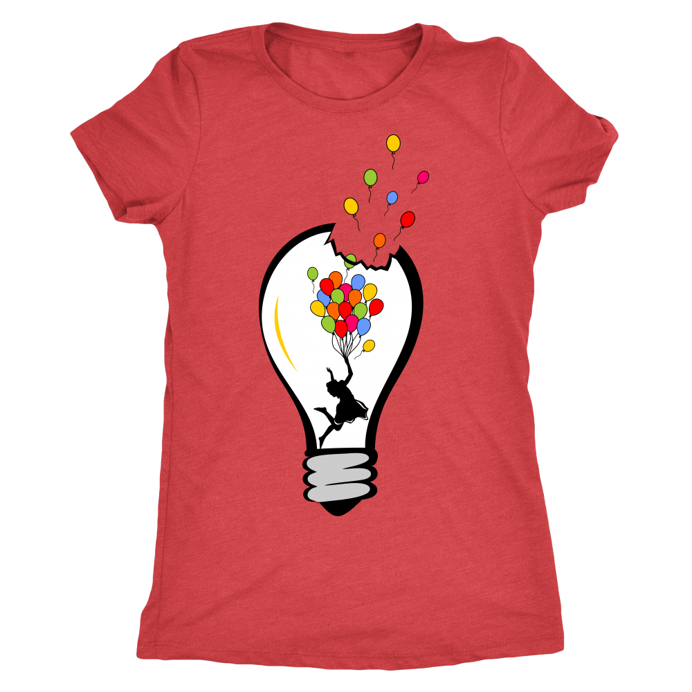 Next Level Tri-blend 'Happy Girl Light Bulb' Women's T-shirt - BAYSUPERSTORE