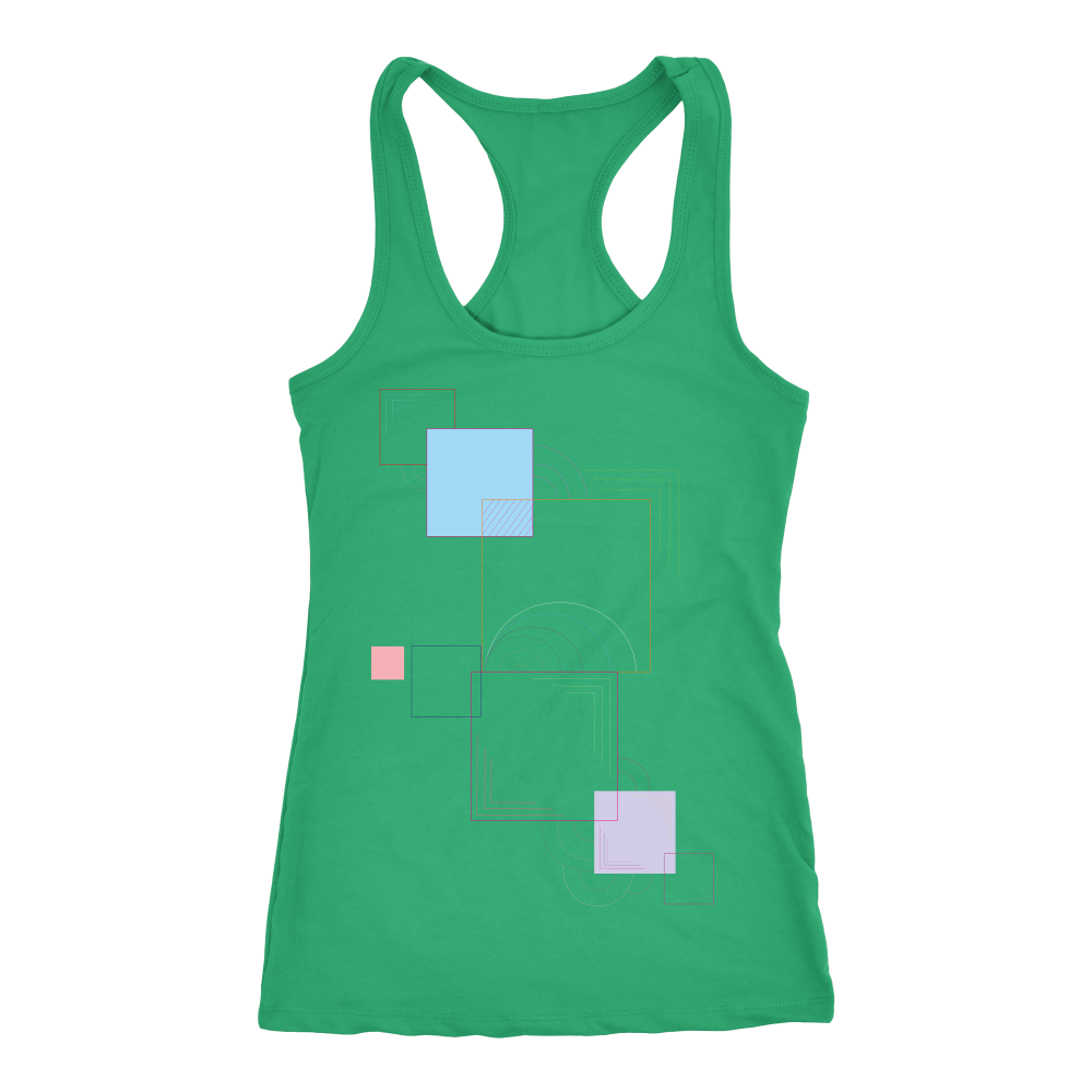 Next Level Racerback Geometric Shapes Women's Tank Top - BAYSUPERSTORE