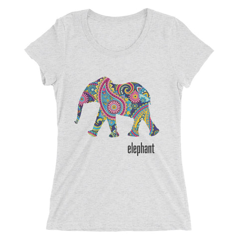 Bella Tri-blend 'Elephant' Women's Short Sleeve T-shirt - BAYSUPERSTORE