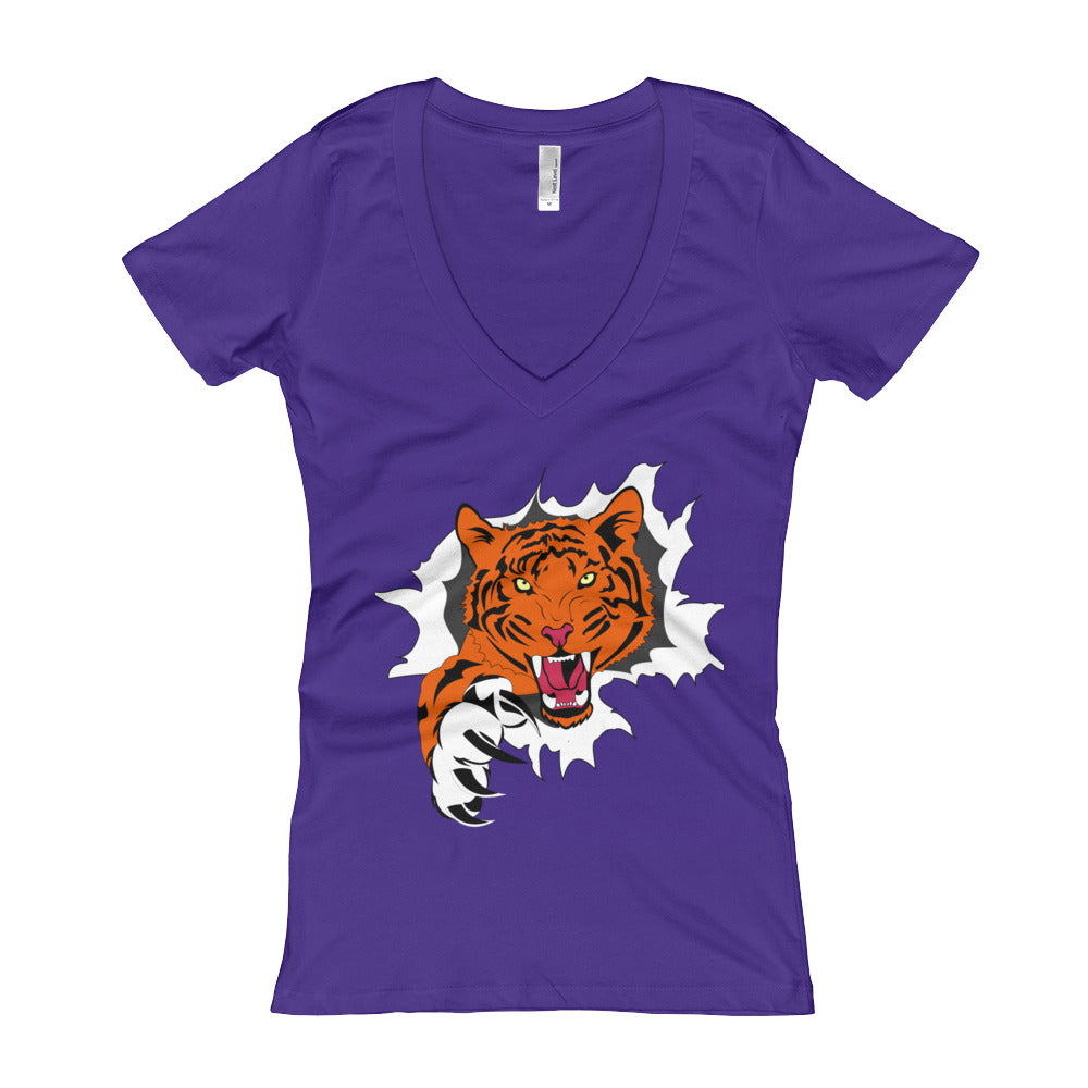 Next Level  'Tiger Breakthrough' Women's V-Neck T-shirt - BAYSUPERSTORE