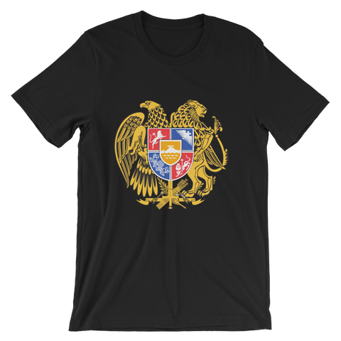 Bella Men's Armenian Coat of Arms Short Sleeve 100% Cotton T-Shirt Made in USA