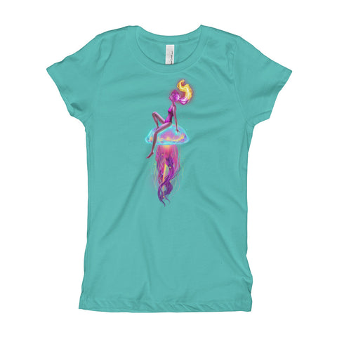 Next Level 'Girl on Jellyfish' Girl's Princess T-Shirt - BAYSUPERSTORE