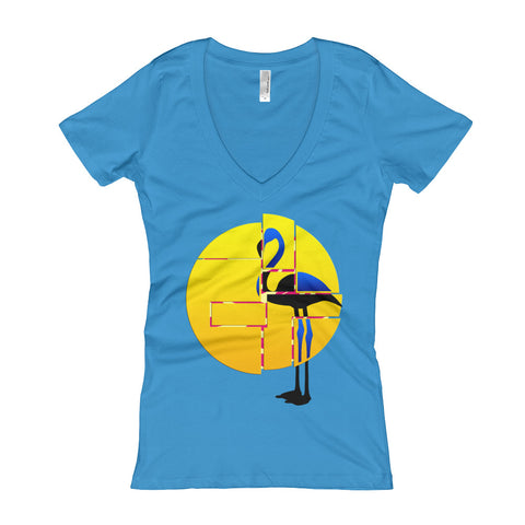 Next Level 'Flamingo & Sun' Women's V-Neck T-shirt - BAYSUPERSTORE