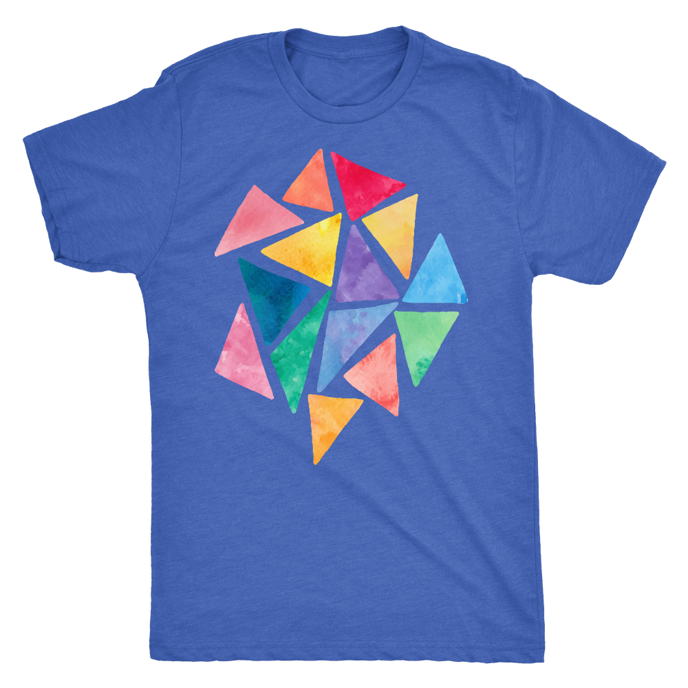 Next Level Tri-blend 'Geometric Color Games' Men's T-Shirt - BAYSUPERSTORE