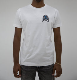 Haych White Guardian Lion Embroidered T-Shirt