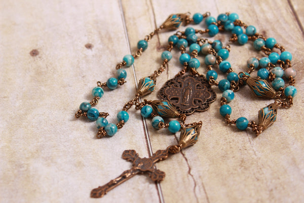Crazy Blue Agate Wire Wrapped Rosary