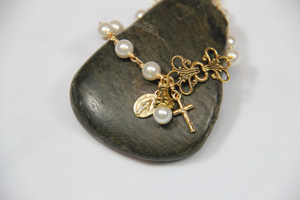 Gold Plated Rosary Bracelet