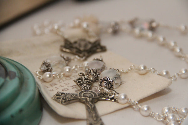 Pearl and White Bronze Rosary