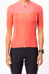 women's luceo premium cycling jersey - deux x corail