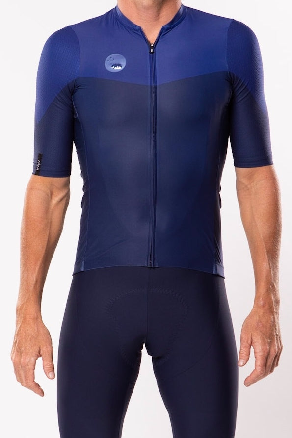 WYN republic Men's Luceo Premium Cycling Jersey - Deux X Bleu. Blue aero cycling jersey.