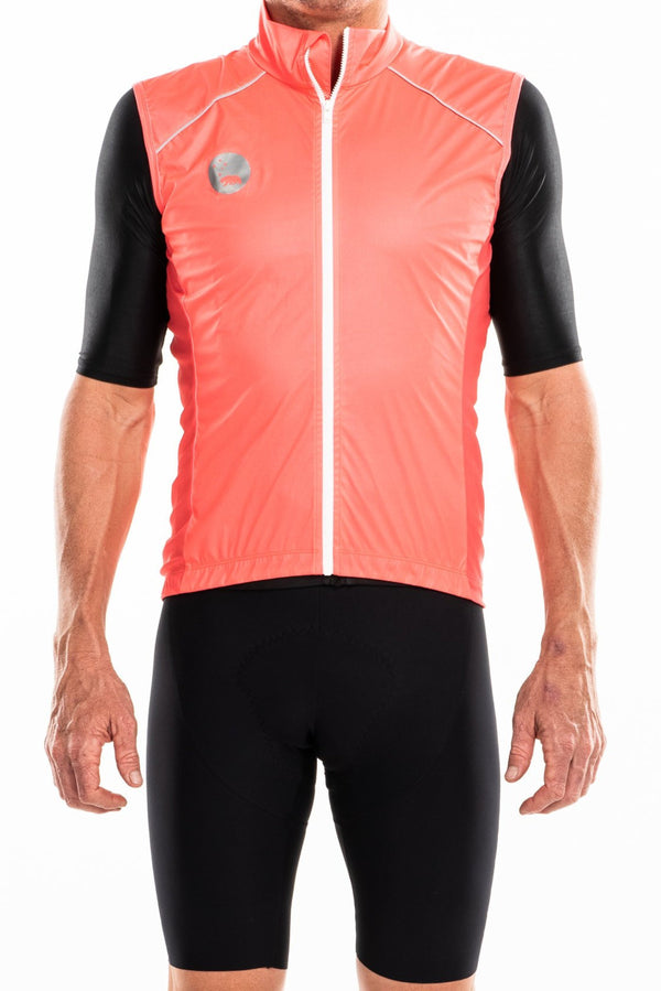 WYN republic men's coral wind vest. Orange gilet with reflective bear logo and detailing for safety.