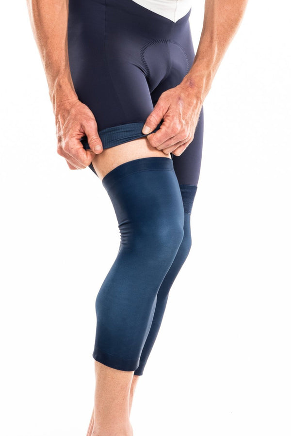 men' knee warmers - navy