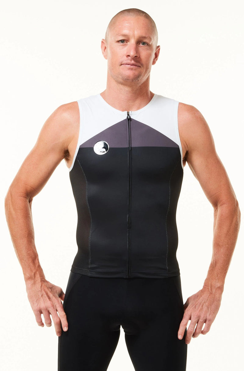 Model wearing WYN republic men's tri classics sleeveless top. Black, grey, white aero tri top.