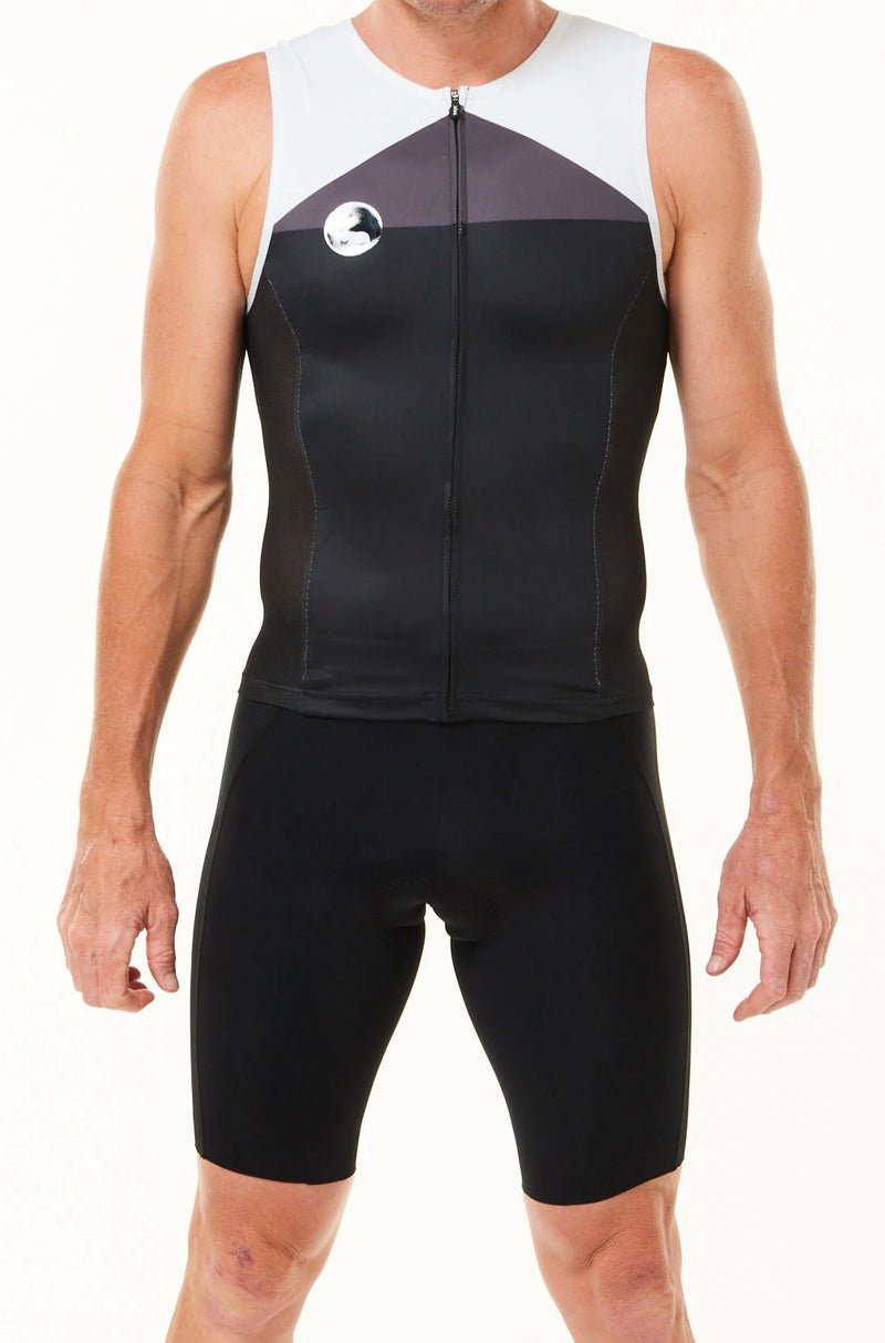 Men's WYN republic Tri Classics Sleeveless suit. Black tri suit with grey chest and white shoulders.