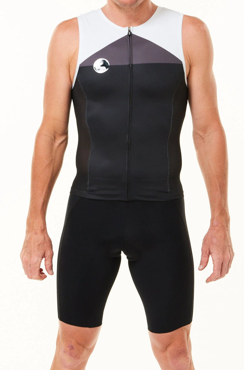 Men's WYN republic tri classics sleeveless top. Black tri top with grey chest and white shoulders.