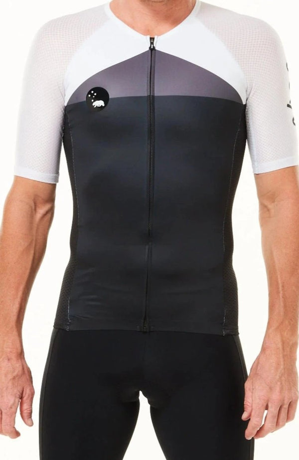 Men's WYN republic Tri Classics Aero+ Sleeved Top. Black tri top with grey chest and white sleeves.