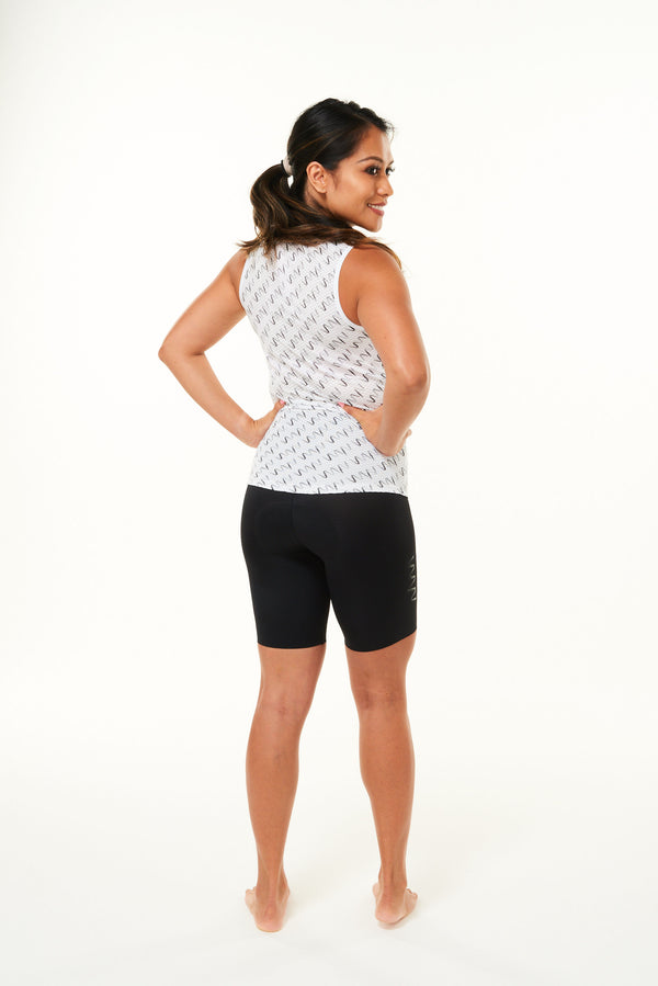 Back of Signature Women's Sleeveless Base Layer. Cycling base layer with grey diagonal logo stripes.