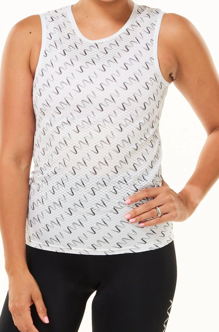 Grey WYN Signature Women's Sleeveless Base Layer. White cycling base layer with grey logos.