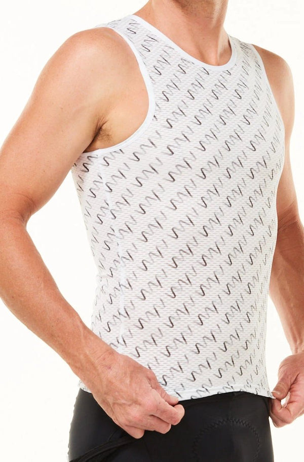 Grey WYN Signature Men's Sleeveless Base Layer. White cycling base layer with grey logos.