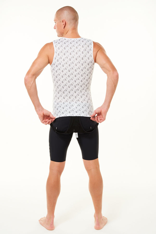 Back of Signature Men's Sleeveless Base Layer. Cycling base layer with grey diagonal logo stripes.