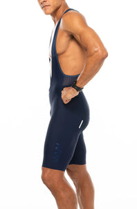 men's LUCEO bib shorts - Navy w/blue logo