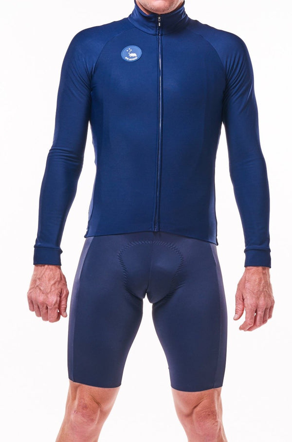 men's fleece thermal cycling jacket - deep navy