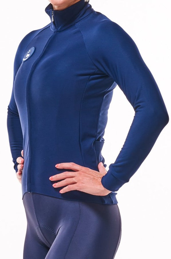 women's fleece thermal cycling jacket - deep navy