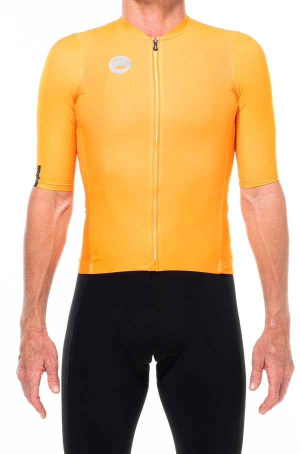 men's LUCEO hex racer cycling jersey - turmeric