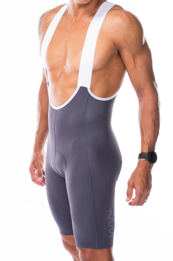 Men's Slate Velocity 2.0 Cycling Bib Shorts. Grey bib shorts with WYN republic logo on thigh.