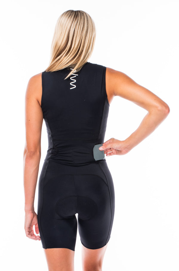 women's velocity sleeveless tri suit - black