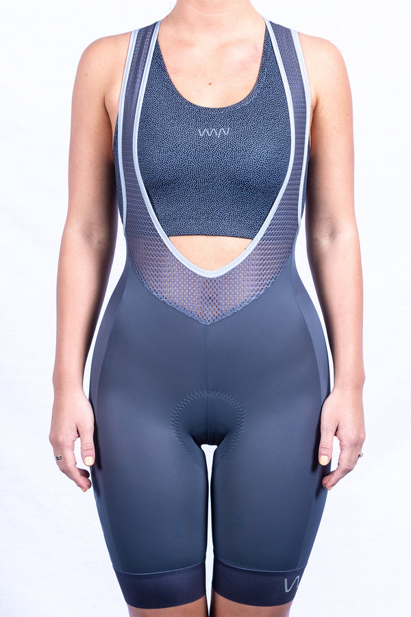 women's LUXE bib shorts v2.0 - slate *FINAL SALE