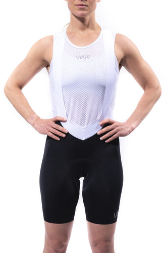 women's black aero cycling bibs with white straps