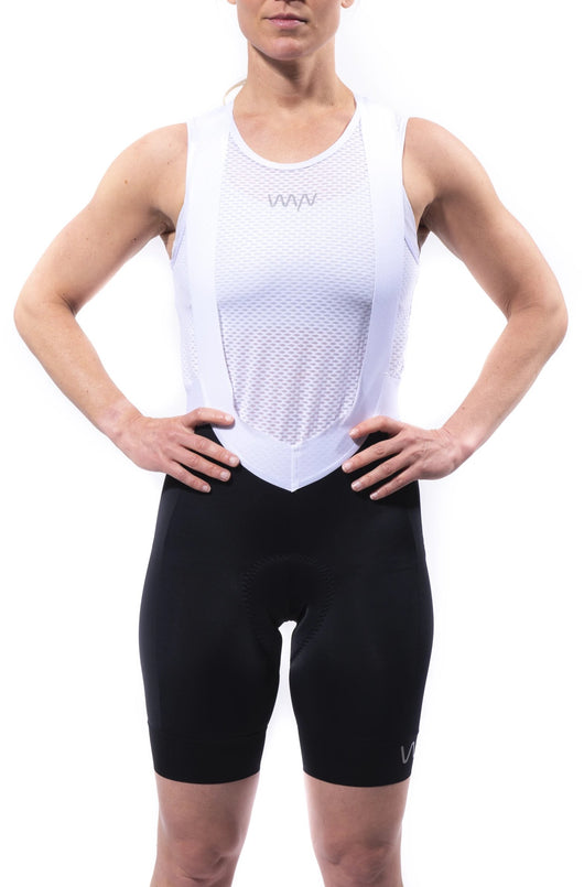 women's luxe bib shorts - black (pairs with rose jersey)