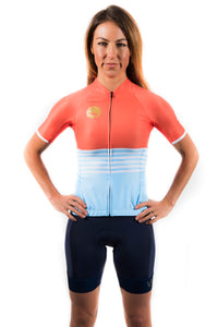 women's navy aero cycling bibs with white straps