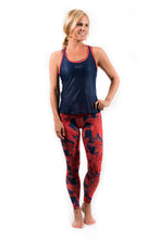 Load image into Gallery viewer, women's coral jungle workout leggings