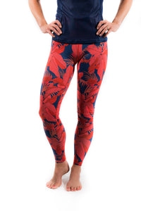 women's coral jungle quick dry breathable leggings