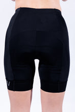 Load image into Gallery viewer, women's black flattering v front aero triathlon shorts