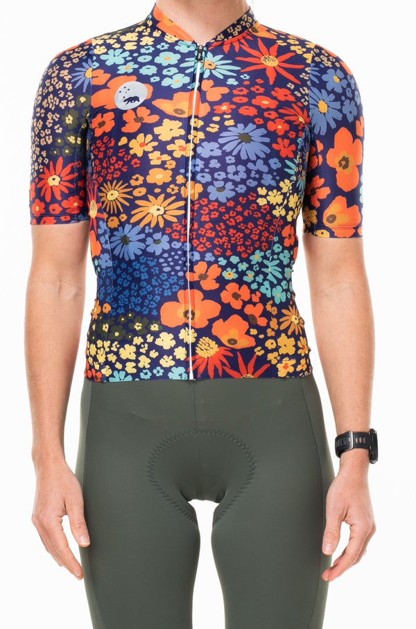 women's flower child premium cycling jersey - blue poppy