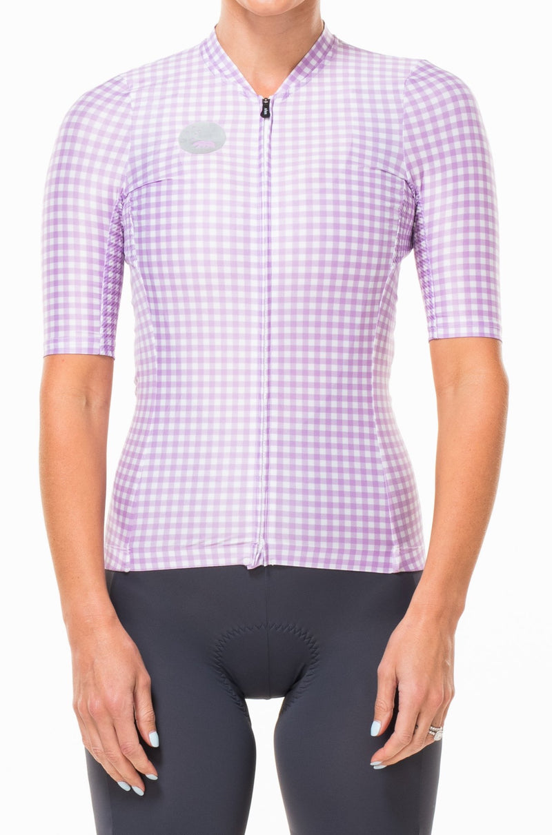 WYN republic women's cycling jersey - Lavender. Purple and white premium cycling jersey that mimics a professional work shirt.