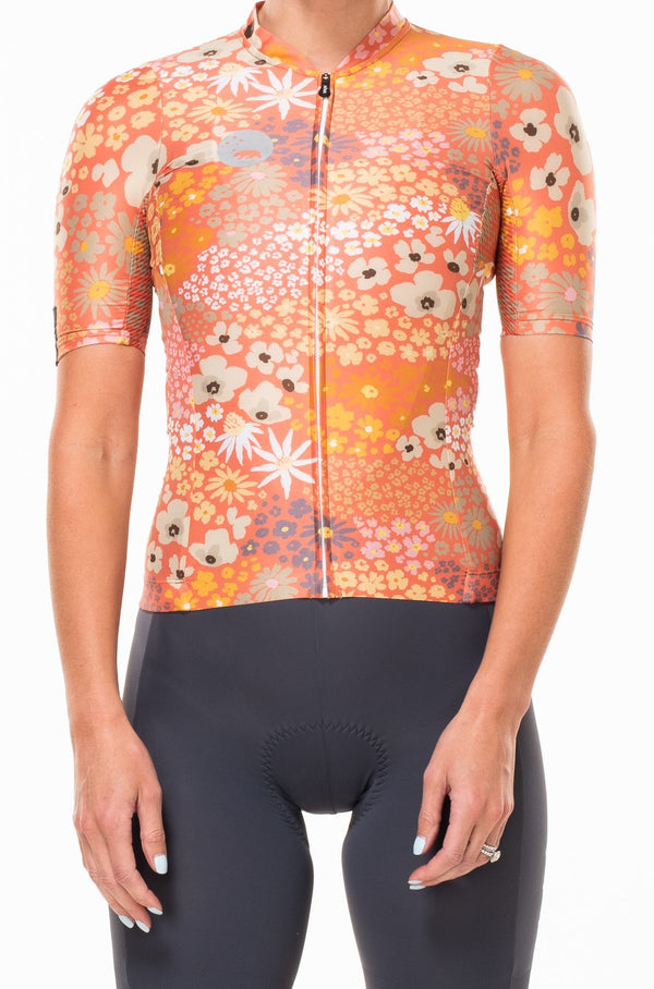 women's flower child premium cycling jersey - blush