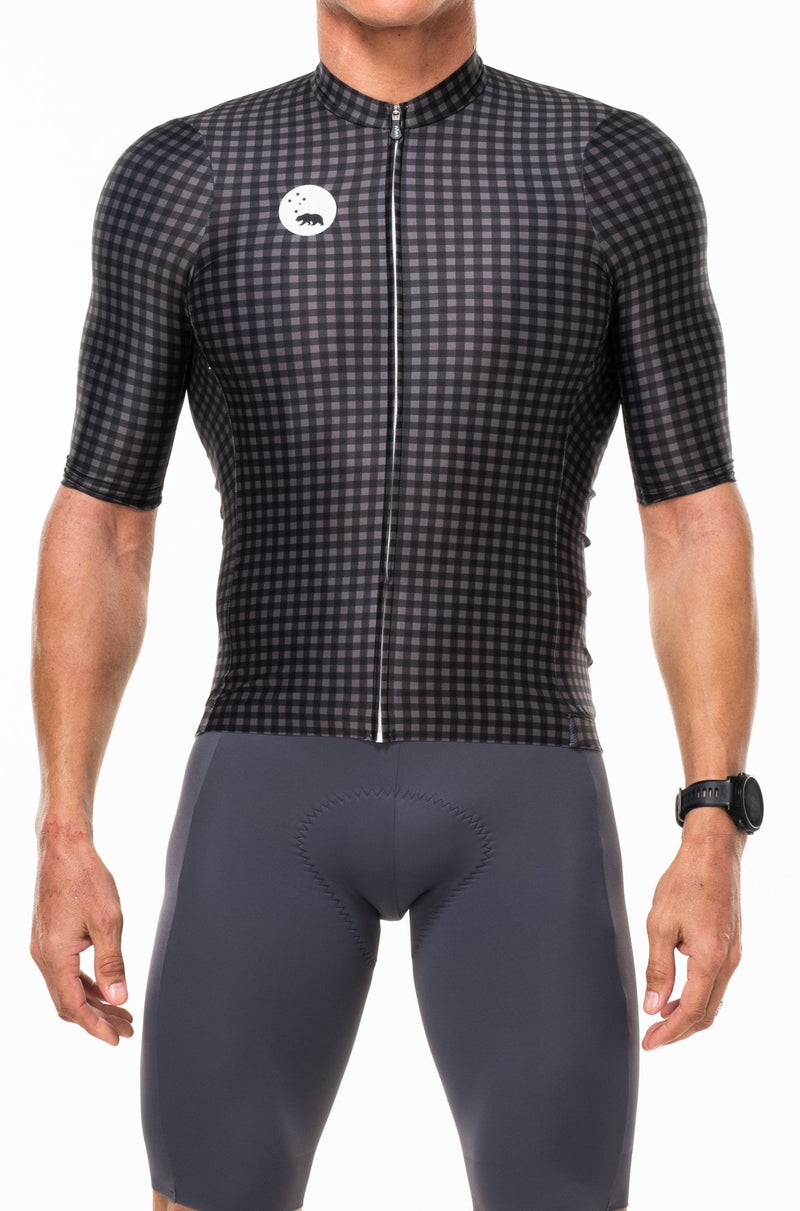 WYN republic men's cycling jersey - Slate/Black. Black and gray premium cycling jersey that mimics a professional work shirt.
