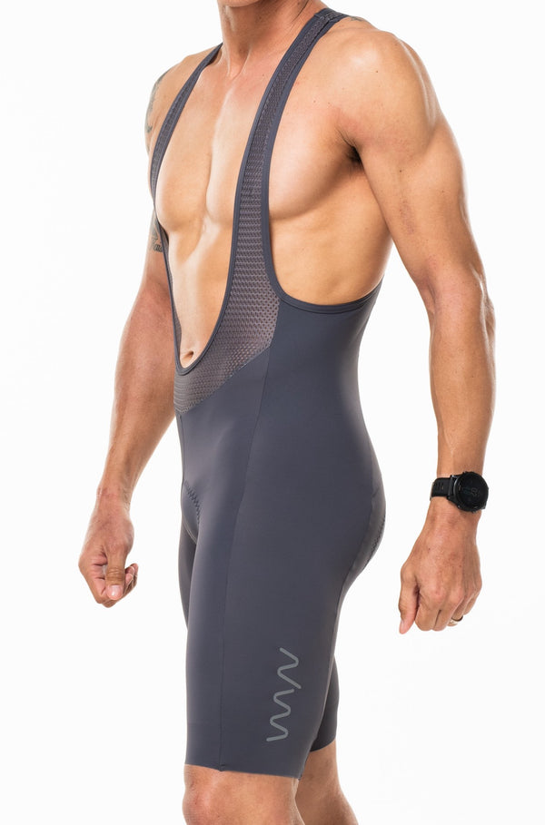 Men's Velocity Cycling Bib Shorts. Gray bib shorts with gray WYN republic logo on thigh.