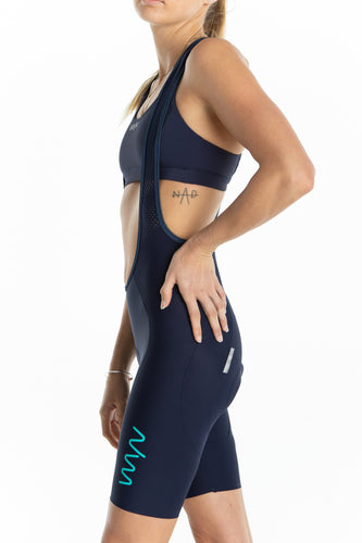women's LUCEO bib shorts - navy/teal