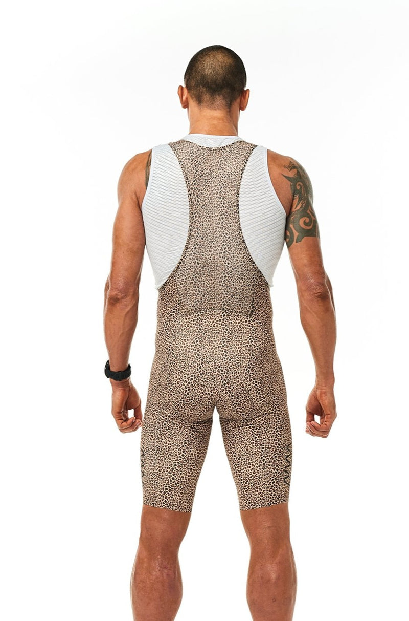 Back view men's Wild Cat Velocity Cycling Bib Shorts. Animal print cycling shorts with back storage.