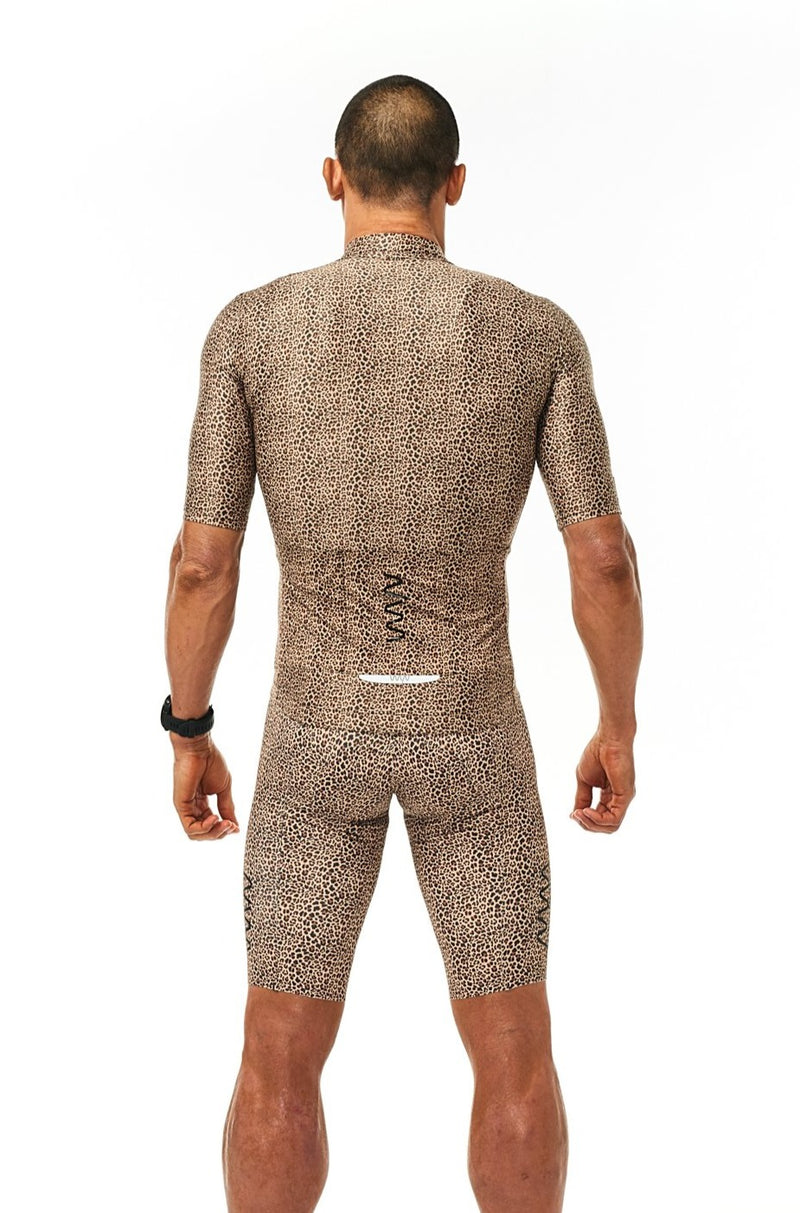 Back of men's Wild Cat Cycling Jersey. Aero jersey with pockets. Animal print with reflective logo.