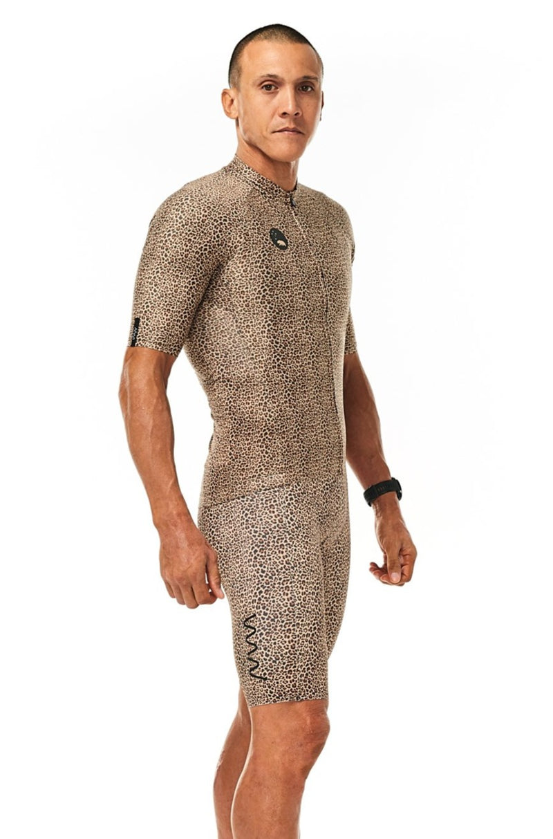 Right Angle men's Wild Cat Pro Cycling Jersey. Slim-fitting aero cycling jersey. Leopard print.